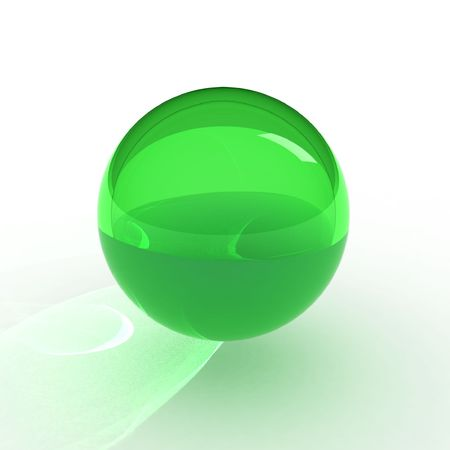 the caustic: 3d green ball with caustic Stock Photo