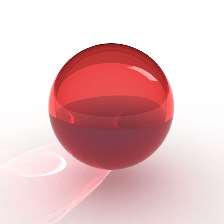 3d red ball with caustic Stock Photo