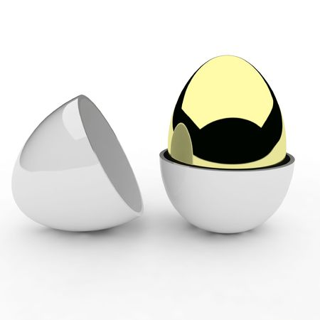 3d golden egg inside white