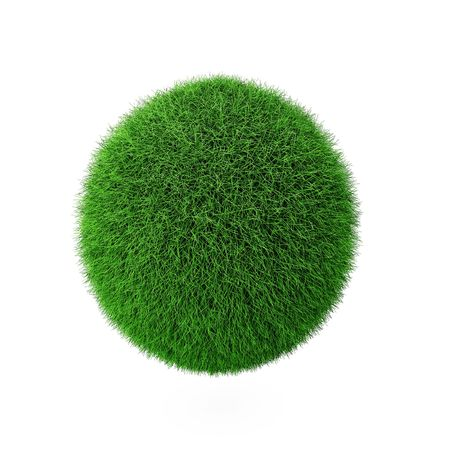 3d render of green grass ball on white Banque d'images