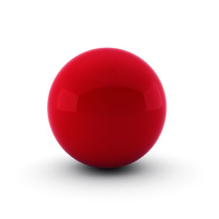red sphere: 3d render of red ball on white