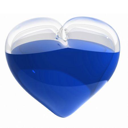 Rendu 3D du coeur de verre avec liquide bleu Banque d'images - 6557312