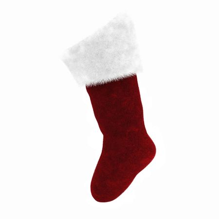 christmas sock: 3d render of red and white xmas sock Stock Photo
