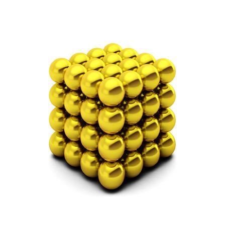 3d rednder of cube consists of golden balls photo