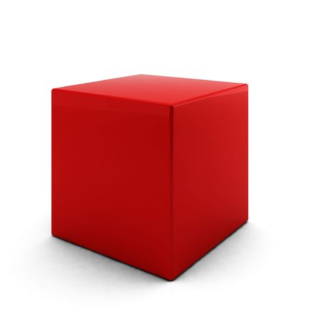 cube: 3d render of red cube on white background Stock Photo