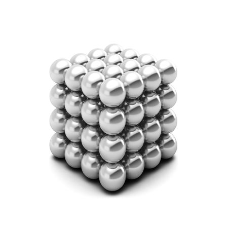 3d rednder of cube consists of silver balls
