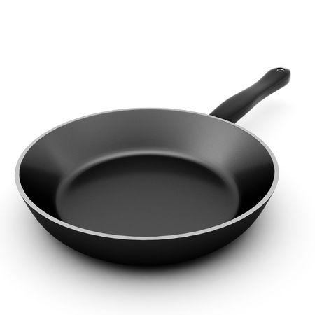 3D render van zwarte pan op wit