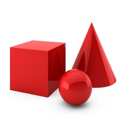 3d geef van rode die primitieven terug op wit worden geïsoleerd Stockfoto