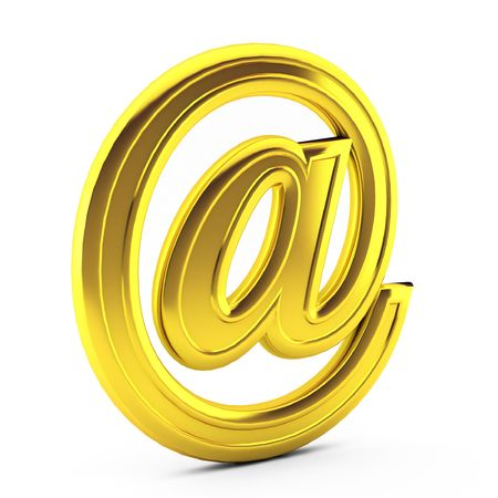 3d render of gold e mail on white Stock Photo