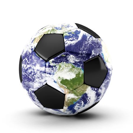 kick around: 3d render of earth soccer ball on white Stock Photo