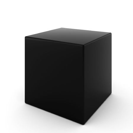 light box: 3d render of black cube on white