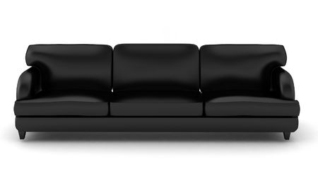 3d render of black leather sofa on white photo