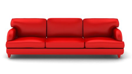 3d render of red leather sofa on white Stock Photo