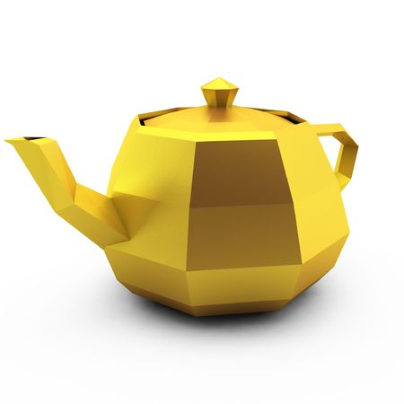 3d render of modern gold teapot on white photo