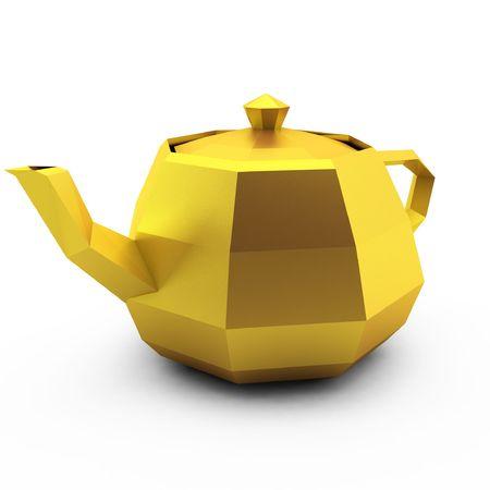 3d render of modern gold teapot on white photo