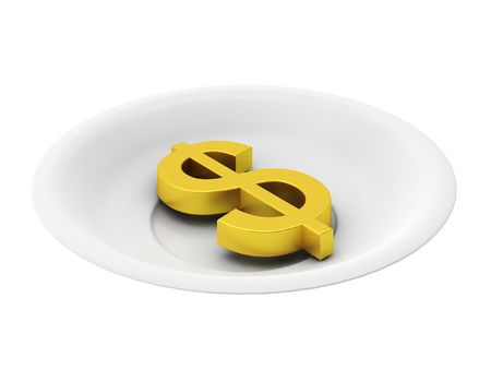 3d render of golden dollar on plate on white background photo