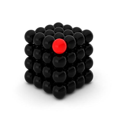 colour box: 3d render of cube with one unique ball Stock Photo