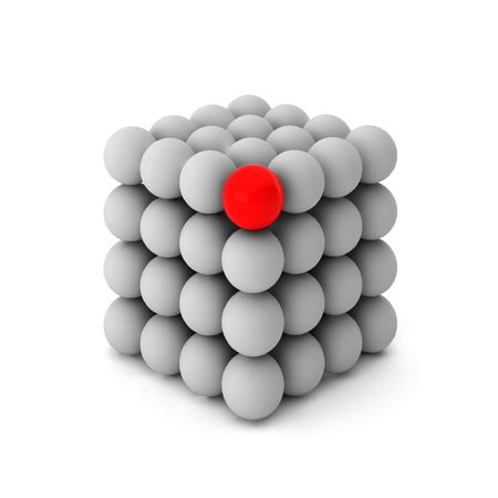 3d render of cube with one unique ball Stock Photo