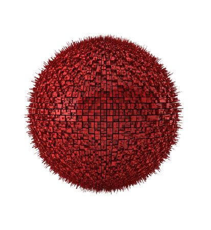 3d render of red abstract ball on white photo