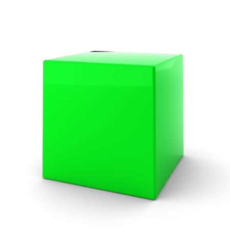 alling: 3d render of green cube on white