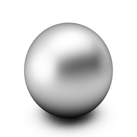 3d render of silver ball on white photo