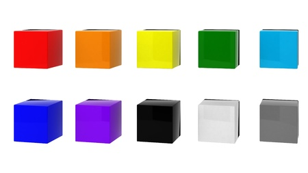alling: 3d render of 10 cubes
