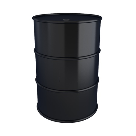 3d render of black oil barrel on white Stock Photo