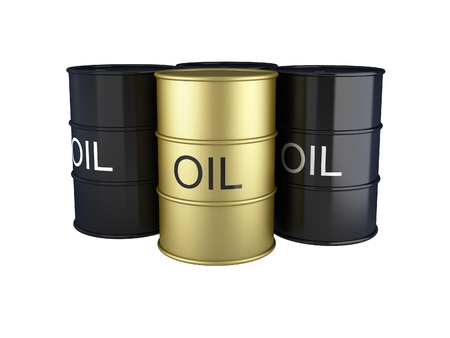 3d render of black and gold oil barrels on white photo