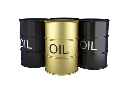 3d render of black and gold oil barrels on white
