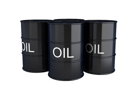 fossil fuel: 3d render of black oil barrels on white Stock Photo
