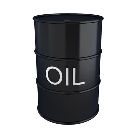 3d render of black oil barrel on white photo