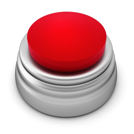 3d render of red button on white photo