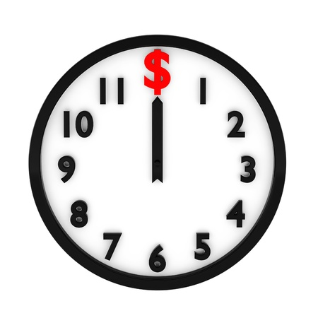 3d render of dollar clock on white Banque d'images