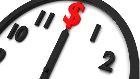 3d render of dollar clock on white photo