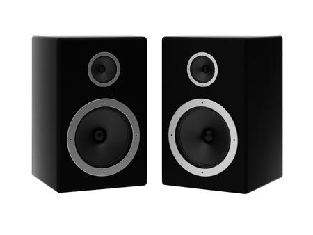 loud speakers: 3d render of two speakers
