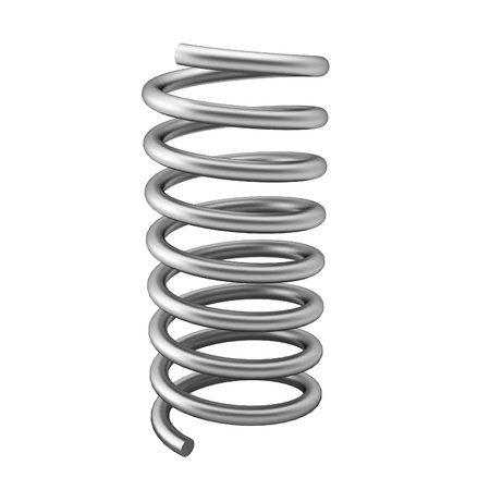 3d render of chrome spring on white Stock Photo
