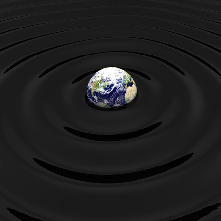 3d render of oil polluted earth concept photo