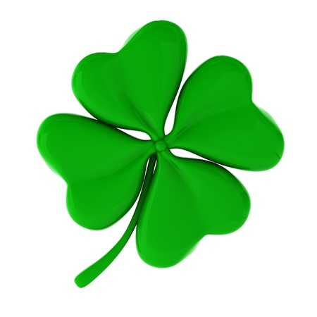 four objects: 3d render of green clover