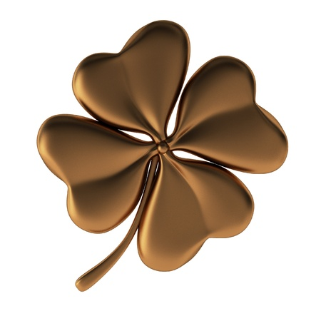 four objects: 3d render of bronze clover Stock Photo