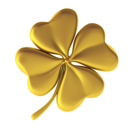 lucky clover: 3d render of golden clover