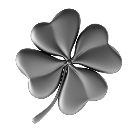four objects: 3d render of silver clover