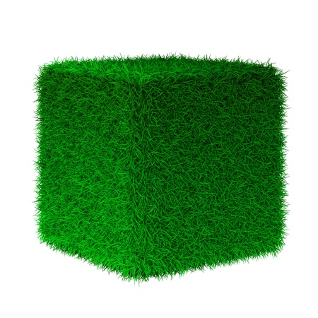 3d render of grass cube Stock Photo