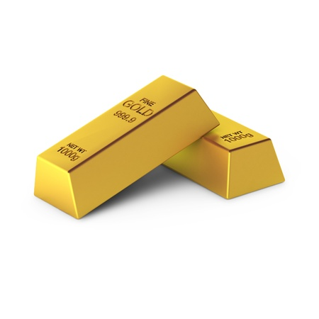 3d render of two gold bars photo