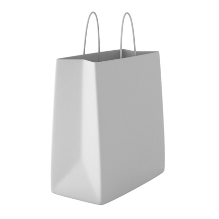 3d render of white shopping bag
