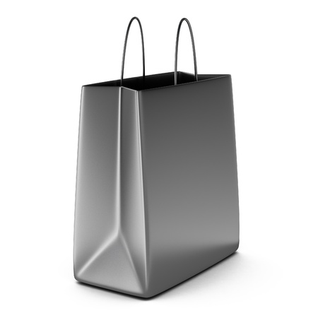 3d render of chrome shopping bag Stock Photo