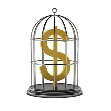 3d render of dollar in cage Stock Photo - 9406183
