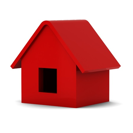 artificial model: 3d render of red house