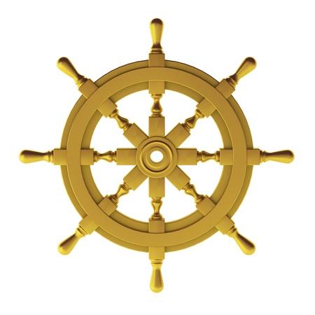 3d sail boat: 3d render of gold wheel