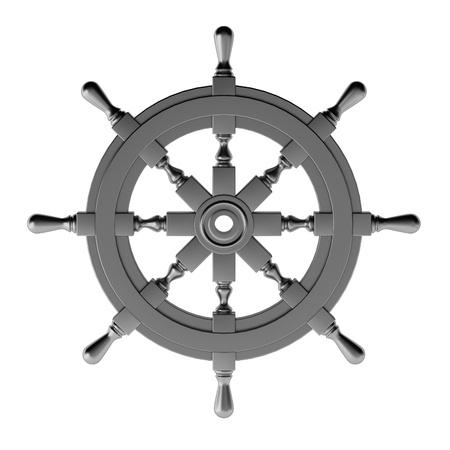 helm: 3d render of chrome wheel Stock Photo