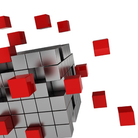 cube chaos - 3d render on white photo